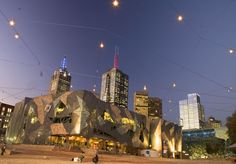 Federation Square, Melbourne - Catenary Lighting   Ronstan Tensile Architecture