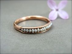 pearl stack ring ... rose gold with platinum hue by sirenjewels