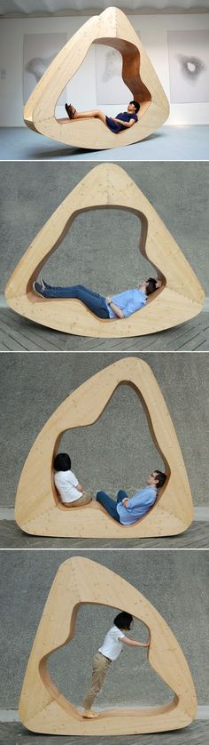 For all of us looking for a more creative seating solution, Yuan Yuan has designed the house-cloud – a semi-open, comfortable seating and reclining solution for everyone in the house. Made from solid wood and plywood and shaped like an irregular triangle with great curved seating space within to relax the body, the house-cloud, which is your personal space to dream of playing in the clouds, adapts and alters itself to the position of the user. Wood Chair Design, Furniture Design, Chair Bed, Personal Space, Alters, Rocking Chair, Plywood, Recliner, Solid Wood