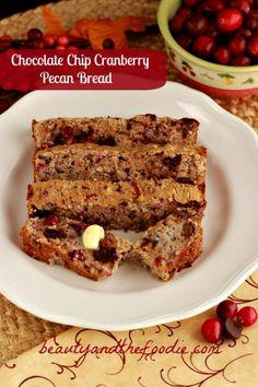 Chocolate Chip Cranberry Pecan Bread #lowcarb #gf #bread