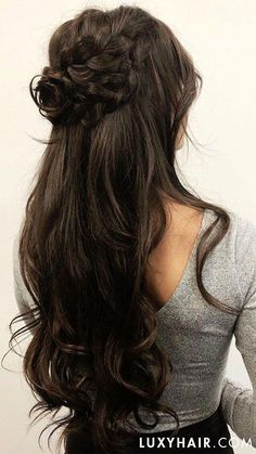Prom hairstyles long dark hair beautiful dark brown in 2019 shop luxy hair Formal Hairstyles, Down Hairstyles, Hairstyles Haircuts, Long Brown Hairstyles, Quince Hairstyles, Updo Hairstyle, Prom Hairstyles For Long Hair Half Up, Braided Wedding Hairstyles, Bridesmaid Hairstyles