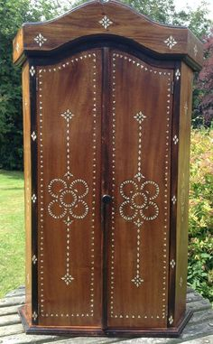 Reproduction Carved Oak Tall Hall Stand Coat Cupboard