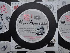 Convite Disco de Vinil - Anos 50