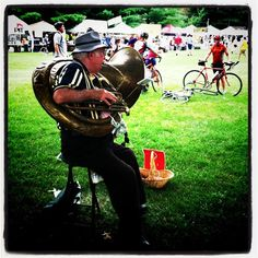 A sousaphone player at RAGBRAI 2011 in Coralville. Photo by @Laura Beauchamp.