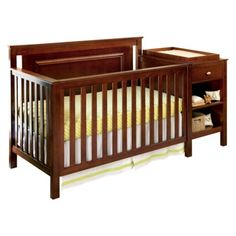 Lolly & Me Cogan 4-in-1 Crib Changer Combo - Mahogany - converts to daybed, full size bed. changing table does not detach - $450
