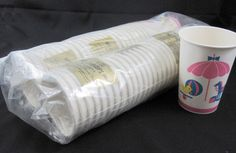 Baby Shower Lot of 48 Vintage 1960s Paper Cups with Handles Unused New Old Stock | eBay