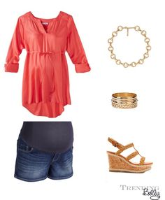 Spring maternity outfit.  Coral tunic, maternity denim shorts, wedges, gold chain, and bangles