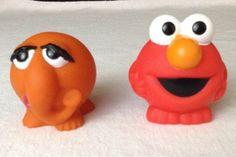 "Fisher Price Sesame Street Collect-a-Pal Toys 2"" Ball Elmo & Snuffleupagus  2008 #FisherPrice"