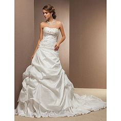 Ball Gown Strapless Cathedral Train Taffeta Wedding Dress – EUR € 164.58
