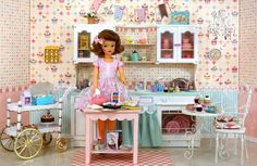 vintage Tammy doll in her cupcake kitchen - Photo and craft by Debby Emerson