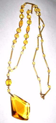 """Antique Art Deco Czech Citrine Glass Faceted Pendant Beaded Necklace 25.5"""""""