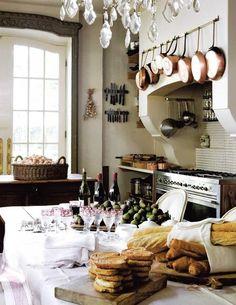 French kitchen. Hanging pot storage