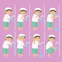 Muslim Ablution Or Purification Ritual Guide Step By Step Using Water Perform By Boy Stock Vector - Illustration of islam, description: 69925833 Muslim Boy Perform Ablution Steps Vector Collection vector illustration<br> Ramadan Activities, Ramadan Crafts, Activities For Kids, English Teaching Materials, Classroom Calendar, Cartoon Clouds, Islam For Kids, Kids Vector, Step Kids