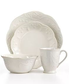 Lenox Dinnerware, French Perle White Collection - Casual Dinnerware - Dining & Entertaining - Macy's Bridal and Wedding Registry Casual Dinnerware, White Dinnerware, China Dinnerware Sets, Lenox French Perle, Stoneware Dinnerware, White Dishes, Tea Stains, Elegant Dining, French Country Decorating