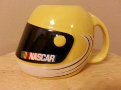 Nascar Racing Helmet Coffee Mug Yellow - Cool !