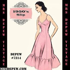 1950's Slip Sewing Pattern in Any Size #7314 | Mrs Depew Vintage