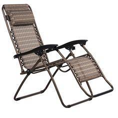 Finether Gartenliege Strandliege Sonnenliege Relaxliege Kippliege Klappliege Sonnenstuhl Liegestuhl mit Kissen klappbar verstellbar wetterfest braun