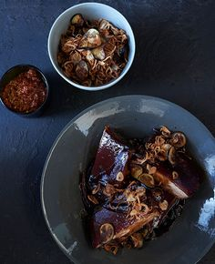 Australian Gourmet Traveller recipe for pork in sweet soy with sambal, fried shallots and eggplant.