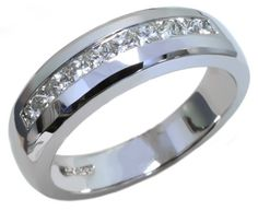 Men's diamond band with princess cut 0.58 carat total diamond weight in 14k white gold