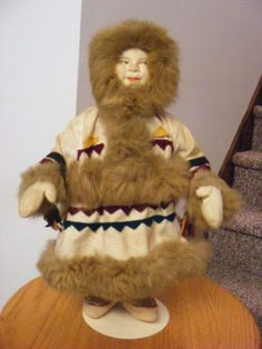 "Rare Antique 1920's 15"" Russian Soviet Union Stockinette Samoyed Woman Doll #Allclothdoll"
