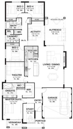 4 Bedroom House Plans Home Designs Perth Vision One Homes with regard to 12 Some of the Coolest Concepts of How to Upgrade 4 Bedroom Modern House Plans Four Bedroom House Plans, 4 Bedroom House Designs, Porch House Plans, Basement House Plans, House Plans One Story, Bedroom Floor Plans, Dream House Plans, Basement Ideas, Open Floor House Plans
