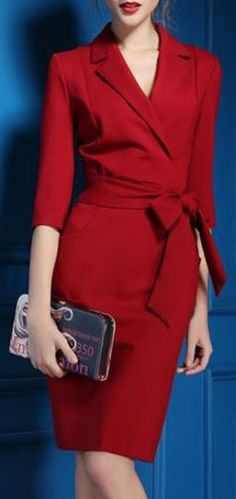 So Gorgeous! Clean and Simple Lines! Red Lapel Self-Tie Belt Midi DressElegant
