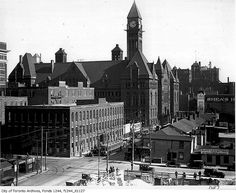 Bay Street looking southeast from Louisa Street, Toronto, Ontario, c. 1918. #vintage #Canada #Edwardian #streets