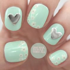 Mint and Floral #Nails w/ Heart shaped studs