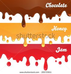 Chocolate, honey, jam drips on white background vector - stock vector