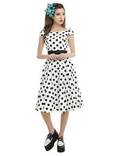 White & Black Polka Dot Swing Dress, WHITE