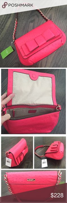 """NWT Kate Spade Charm City Ostrich Joleen Pink Bag Authentic Kate Spade Charm City Ostrich Joleen shoulder bad in Desert Rose pink leather. Magnetic closure. Inside has 2 cell pockets and one zip pocket. Gold hardware. Brand new! 11.5""""x2.5""""x6.5"""" kate spade Bags Shoulder Bags"""