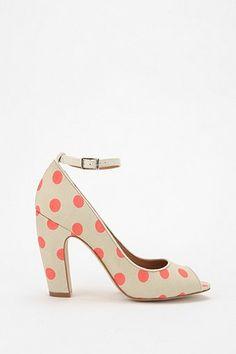Coral polka dot heels
