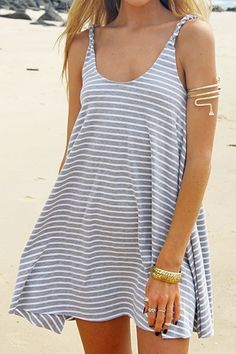 Striped Grey Spaghetti Strap Dress