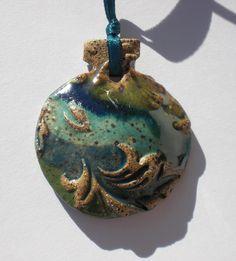 Metallic Green Cobalt and Turquoise Stoneware Ornament. $20.95, via Etsy.