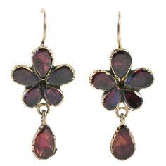 Georgian Gold and Garnet Earrings