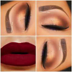 Gorgeous gold eye shadow with a warm brown cut crease is paired with lovely matte red lips. Discover the essentials from IT Cosmetics needed to recreate this look.
