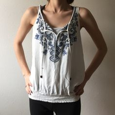 Maurice's tank top White tank top with blue embroidery design Maurices Tops Tank Tops