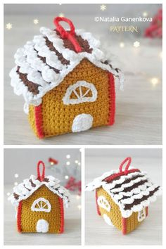 Christmas Gift Bags, Christmas Crafts, Christmas Decorations, Christmas Ornaments, Knitting Patterns, Crochet Patterns, Christmas Gingerbread House, House Gifts, Tissue Box Covers