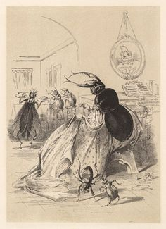Illustrations by H. L. Stephens for Death and Burial of Poor Cock Robin, circa 1865.  Who'll make the shroud?  I, said the Beetle,  with my thread and needle,  I'll make the shroud.