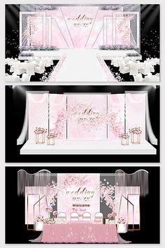 modern minimalist beautiful pink wedding effect picture Wedding Stage Design, Wedding Stage Decorations, Wedding Designs, Wedding Ideas, Indian Wedding Receptions, Wedding Mandap, Private Wedding, Luxury Wedding, Simple Weddings