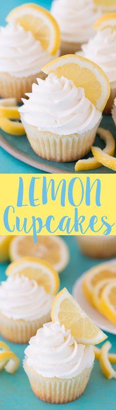 Perfect lemon cupcakes with a light lemon buttercream frosting!