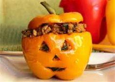 stuffed orange bell pepper jack-o-lantern