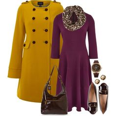 A fashion look from September 2014 featuring below the knee dresses, lands end coats and ballerina shoes. Browse and shop related looks.