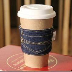 Denim coffee cosy