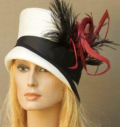 Black Red & White Cloche Straw Kentucky Derby Hat by AwardDesign