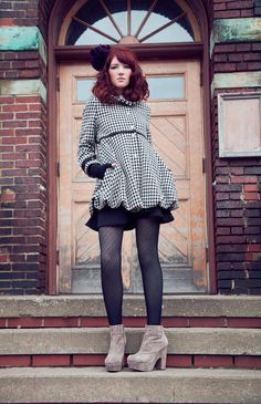 A must have!    Houndstooth Bubble Coat w/Funnel Collar  Available by yellowcake, $334.00