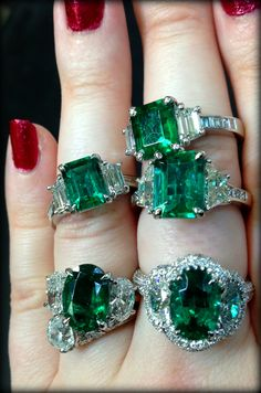 Emerald and diamond rings by JB Star. Via Diamonds in the Library.