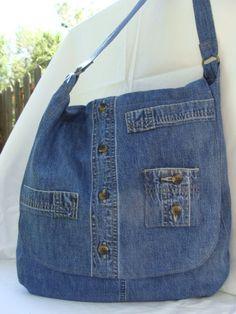 Repurposed skirt jean bag by InnerCreativeChild on Etsy