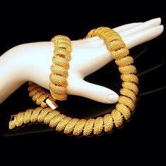 #Napier Chunky Nuggets #Necklace #Bracelet Set Vintage Jewelry from #MyClassicJewelry