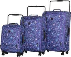 IT Luggage World's Lightest 8 Wheel Spinner 3 Piece Set Blue/Mint Aztec Print - via eBags.com!